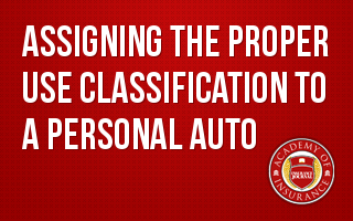 Assigning the Proper Use Classification to a Personal Auto